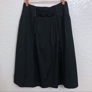 NWT Express Black A-Line Skirt Laced Up Front